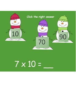 TIMES TABLES 10x SNOWY WINTRY POWERPOINT FUN