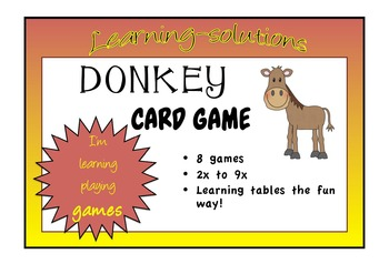 TIMES TABLES - 2x to 9x - DONKEY Card Game - 8 games