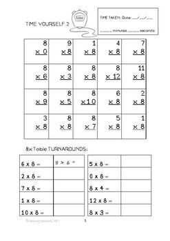 TIMES TABLES - 8x TABLE PACKAGE - DIFFERENTIATED Workbook (87p) + 6 Games ++