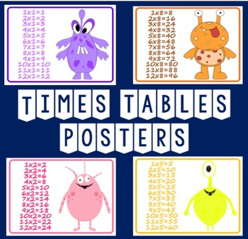 TIMES TABLES A4 POSTERS - KS 1 - 2 ALIENS DISPLAY MULTIPLICATION MATHS
