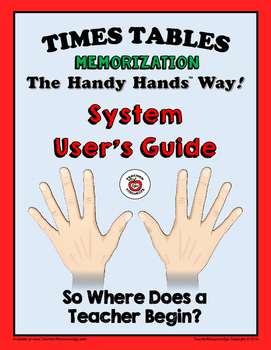 "TIMES TABLES MEMORIZATION - The Handy Hands Way!  ""SYSTEM USER'S GUIDE"""