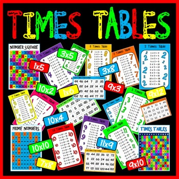 TIMES TABLES POSTERS x 18 A4 - MULTIPLICATION BINGO GAMES maths display