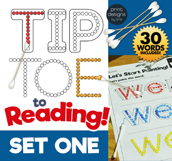 TIP TOE to Reading - Painting Sight Words Activity - SET ONE