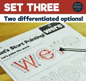 TIP TOE to Reading - Painting Sight Words Activity - SET THREE