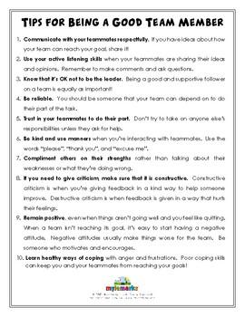 TIPS FOR BEING A GOOD TEAM MEMBER (Sportsmanship)