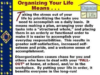 """ORGANIZE YOUR LIFE TIPS PowerPoint - """"How to Prioritize Your Daily Tasks!"""""""