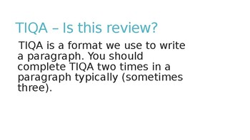 TIQA Writing Instruction - Powerpoint to Teach Writing a Body Paragraph