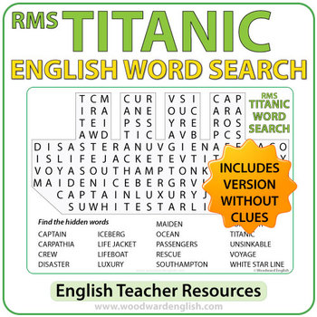 TITANIC Word Search in English