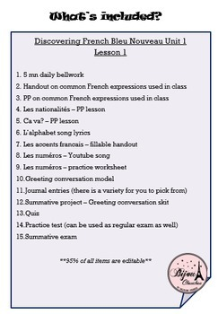 Discovering French Bleu Unit 1 Lesson 1 ENTIRE Chapter Curriculum Bundle
