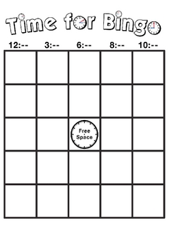 TIme for Bingo - Math game to learn how to tell time