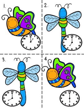 Time To the Hour Task Cards Buggy Theme Common Core