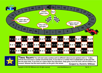 Times Racer Game to practice recall of multiplication facts