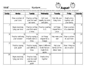 Pre-K / TK / K Transitional / Kindergarten 2017-2018 Monthly Homework Calendars