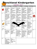 TK /Pre-K Transitional Kindergarten Monthly Homework Calendars 17-18 En/ Spanish