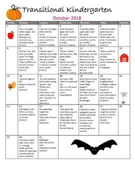 TK /Pre-K Transitional Kindergarten Monthly Homework Calendars 18-19 En/ Spanish