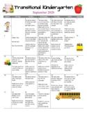 TK /Pre-K Transitional Kindergarten Monthly Homework Calendars 20-21 En/ Spanish