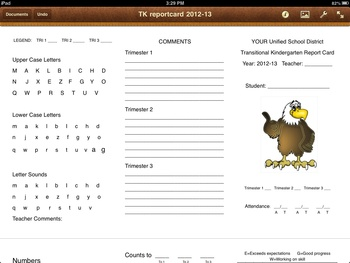 TK Transitional Kindergarten Report Card Pages IPAD trimester legal trifold