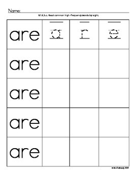 TK and Kindergarten High Frequency Word Practice