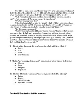 To Kill a Mockingbird Chapters 6-11 Test + Key + Studyguide