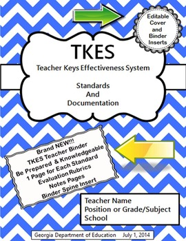 TKES Georgia Teacher Evaluation Binder with Standards and Rubrics - Blue
