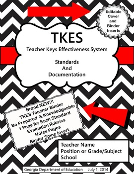 TKES Georgia Teacher Evaluation Binder with Standards and Rubrics - Black