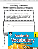 Academic Vocabulary Level 1 - Does it Dissolve?