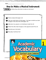 Academic Vocabulary Level 1 - Following Directions
