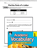 Academic Vocabulary Level 1 - Parts of a Letter