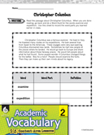 Academic Vocabulary Level 2 - Christopher Columbus