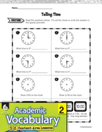Academic Vocabulary Level 2 - Telling Time