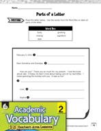 Academic Vocabulary Level 2 - Writing a Friendly Letter