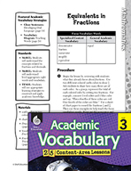 Academic Vocabulary Level 3 - Equivalents in Fractions