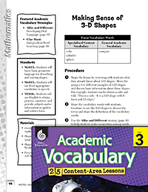 Academic Vocabulary Level 3 - Making Sense of 3-D Shapes