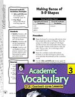 Academic Vocabulary Level 3 - Making Sense of 3-D Shapes