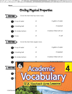 Academic Vocabulary Level 4 - Physical Properties