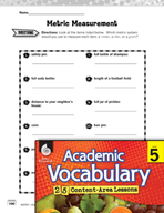 Academic Vocabulary Level 5 - Metric Measurement