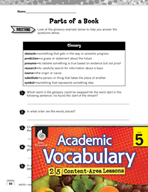 Academic Vocabulary Level 5 - Parts of a Book