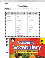 Academic Vocabulary Level 5 - Transitions