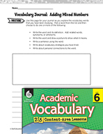 Academic Vocabulary Level 6 - Adding Mixed Numbers with Unlike Denominators