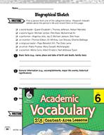 Academic Vocabulary Level 6 - Biographical Sketches