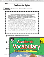Academic Vocabulary Level 6 - Card - iovascular System