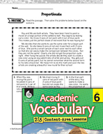 Academic Vocabulary Level 6 - Introducing Ratios and Proportions