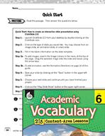 Academic Vocabulary Level 6 - Technical Directions