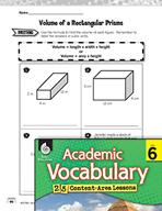 Academic Vocabulary Level 6 - Volume of Rectangular Prisms