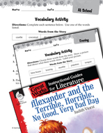 Alexander and the Terrible, Horrible - Vocabulary Activiti