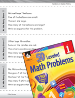 Algebraic Thinking Leveled Problem: Addition and Subtraction At the Party Store