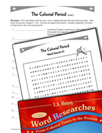 American History Word Researches: Colonial Period