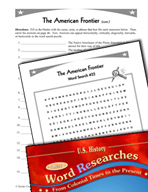 American History Word Researches: The American Frontier