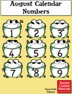 August Calendar Numbers by Karen's Kids