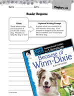 Because of Winn-Dixie Reader Response Writing Prompts (Gre